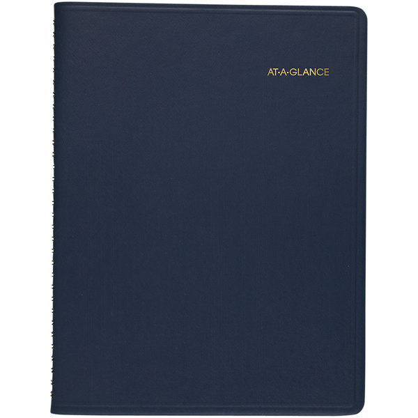 "At-A-Glance 7095020 8 1/4"" x 10 7/8"" Navy January 2021 - January 2022 Weekly Appointment Book Main Image 1"