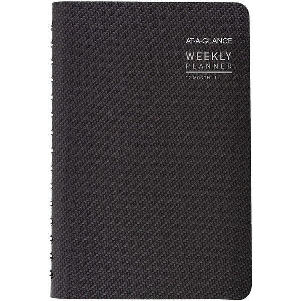 """At-A-Glance 70100X45 4 7/8"""" x 8"""" Graphite January 2020 - December 2020 Contemporary Weekly / Monthly Planner"""