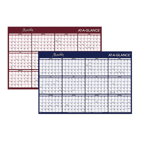 """At-A-Glance A152 32"""" x 48"""" Blue / Red Reversible Horizontal Erasable January 2020 - December 2020 Wall Planner"""