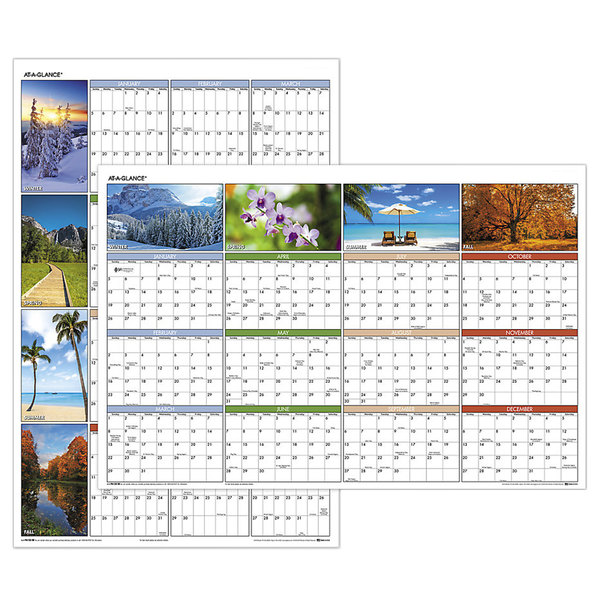 """At-A-Glance PA133 24"""" x 36"""" """"Seasons in Bloom"""" Reversible Horizontal / Vertical Erasable January 2020 - December 2020 Wall Planner"""