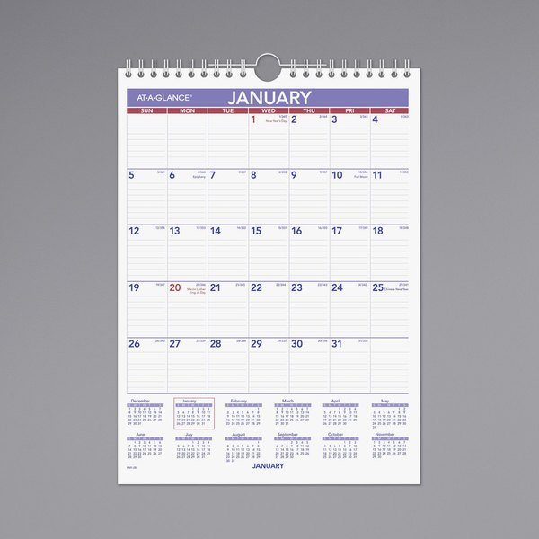 "At-A-Glance PM128 8"" x 11"" Monthly January 2020 - December 2020 Wirebound Wall Calendar"