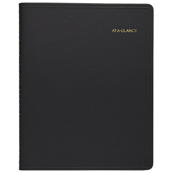 """At-A-Glance 70950V05 8 1/4"""" x 10 7/8"""" Black January 2020 - December 2020 Triple View Weekly / Monthly Appointment Book"""