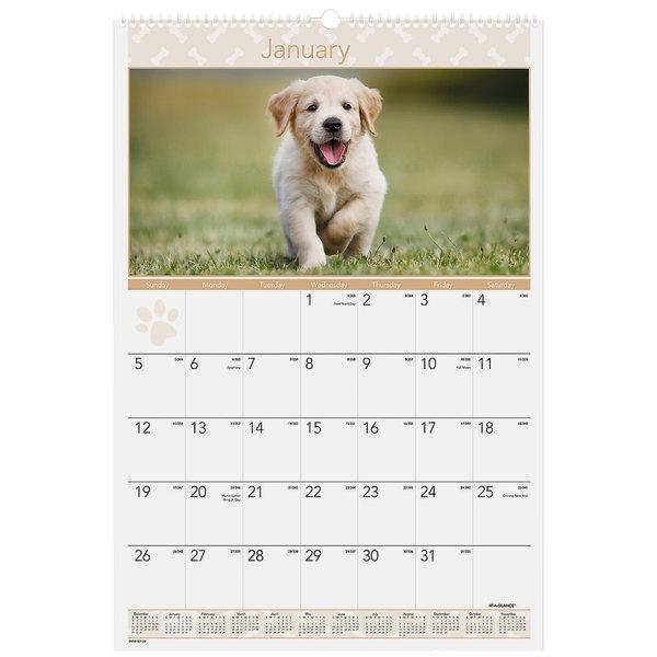 "At-A-Glance DMW16728 15 1/2"" x 22 3/4"" Puppy Monthly January 2020 - December 2020 Wirebound Wall Calendar"