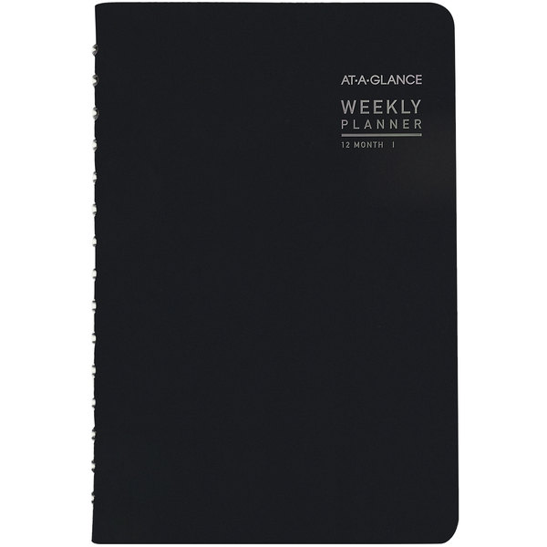 """At-A-Glance 70100X05 4 7/8"""" x 8"""" Black January 2020 - December 2020 Contemporary Weekly / Monthly Planner"""