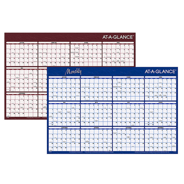 """At-A-Glance A102 24"""" x 36"""" Blue / Red Reversible Horizontal Erasable January 2020 - December 2020 Wall Planner"""