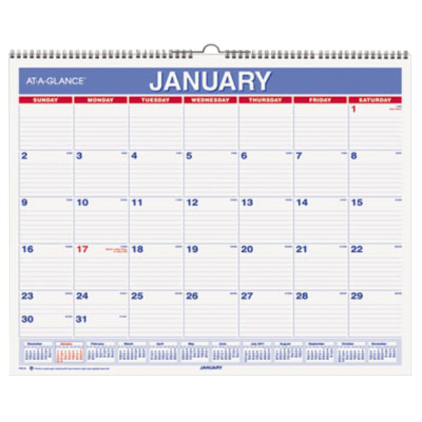 at a glance pm828 12 x 15 blue red monthly january 2019