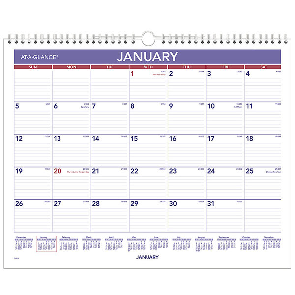 "At-A-Glance PM828 12"" x 15"" Blue / Red Monthly January 2020 - December 2020 Wall Calendar"