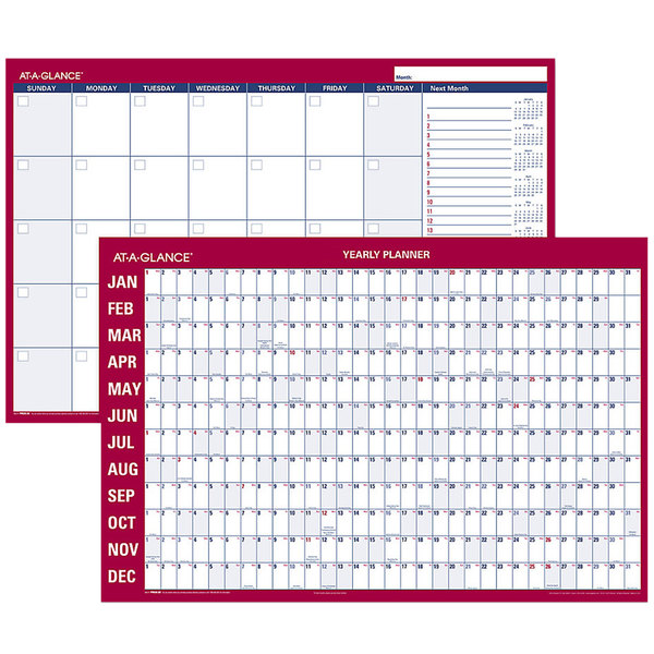 "At-A-Glance PM2828 24"" x 36"" Blue / Red Monthly / Yearly Reversible Horizontal Erasable January 2020 - December 2020 Wall Calendar"