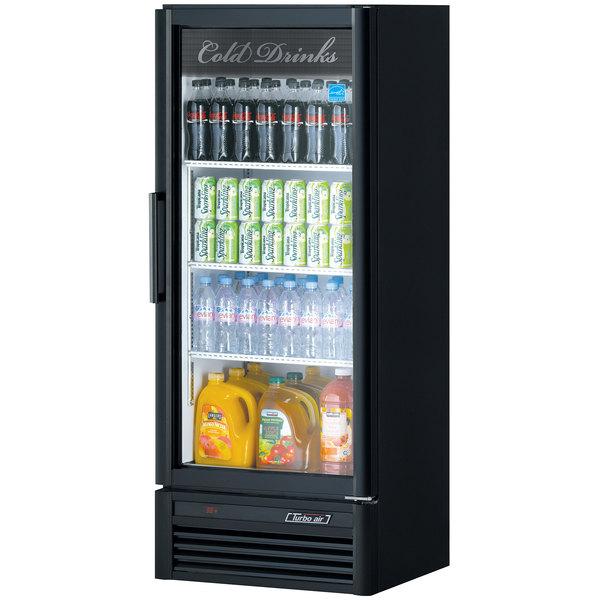 "Turbo Air TGM-12SD-B-N6 Super Deluxe Series 26"" Black Single Glass Door Refrigerated Merchandiser Main Image 1"