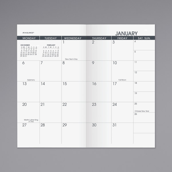 "At-A-Glance 7090610 3 1/2"" x 6 1/8"" Pocket Size Monthly January 2020 - January 2021 Planner Refill"