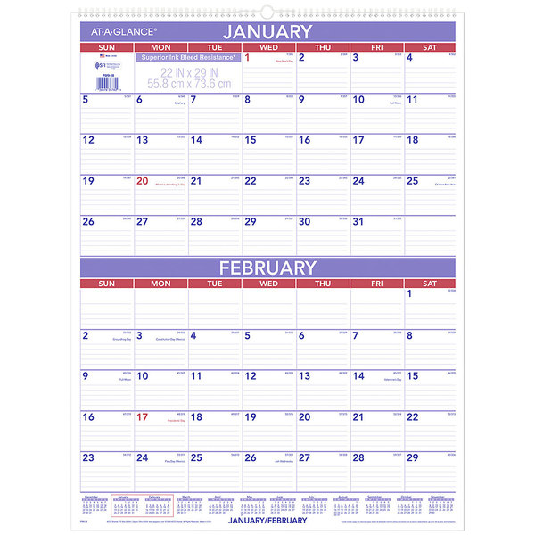 """At-A-Glance PM928 22"""" x 29"""" 2-Month Reference January 2020 - December 2020 Wirebound Wall Calendar"""
