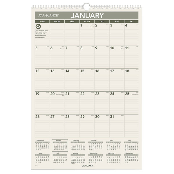 """At-A-Glance PM3G28 15 1/2"""" x 22 3/4"""" Green Monthly January 2020 - December 2020 Wirebound Wall Calendar"""