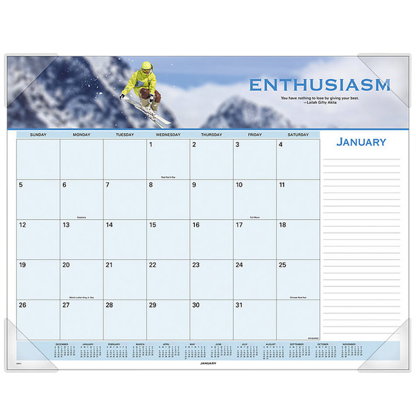 """At-A-Glance 89801 22"""" x 17"""" 2020 Motivational Panoramic Desk Pad"""
