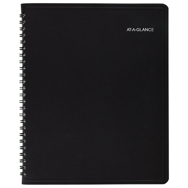"""At-A-Glance 760805 QuickNotes 6 7/8"""" x 8 3/4"""" Black 2020 Monthly Planner"""