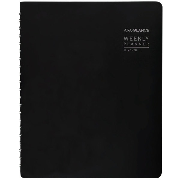 """At-A-Glance 70950X05 8 1/4"""" x 10 7/8"""" Black January 2020 - December 2020 Contemporary Weekly / Monthly Planner"""