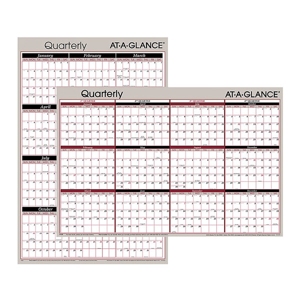 "At-A-Glance A123 24"" x 36"" Black / Red Reversible Horizontal / Vertical Erasable January 2021 - December 2021 Quarterly Wall Planner Main Image 1"