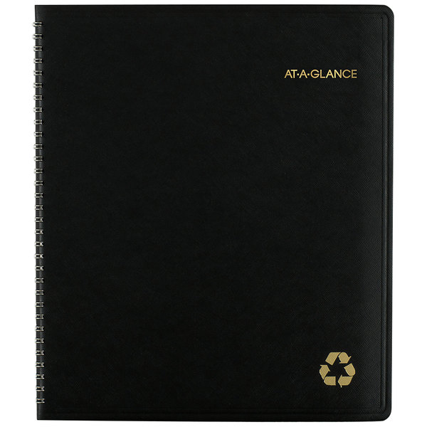 "At-A-Glance 70260G05 9"" x 11"" Black January 2020 - January 2021 Recycled Monthly Planner"