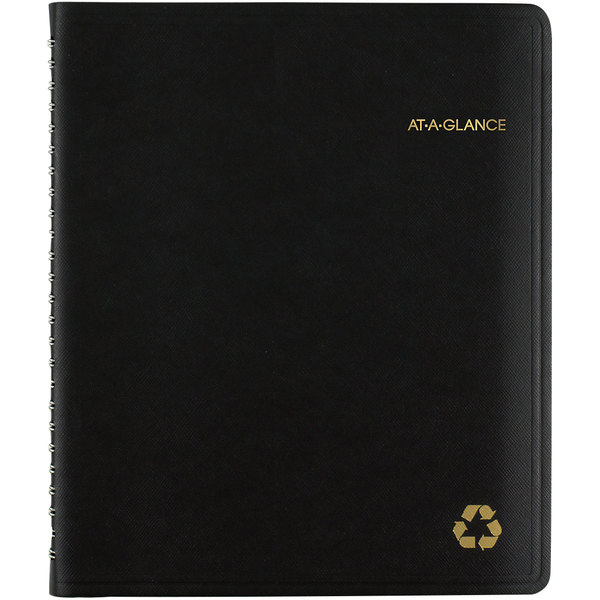 "At-A-Glance 70951G05 6 7/8"" x 8"" Black January 2020 - December 2020 Classic Weekly / Monthly Appointment Book"