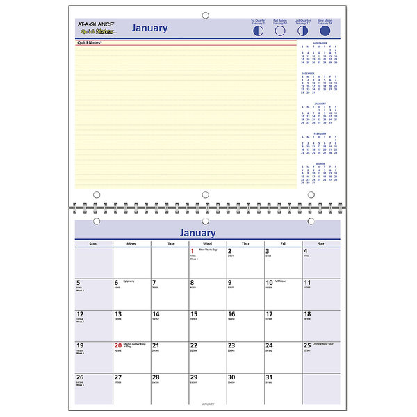 "At-A-Glance PM5028 QuickNotes 11"" x 8"" Monthly January 2020 - December 2020 Wirebound Wall Calendar"