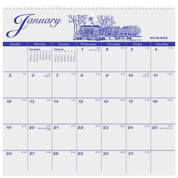 "At-A-Glance G100017 11 3/4"" x 12"" Illustrator's Edition Monthly January 2020 - December 2020 Wirebound Wall Calendar"