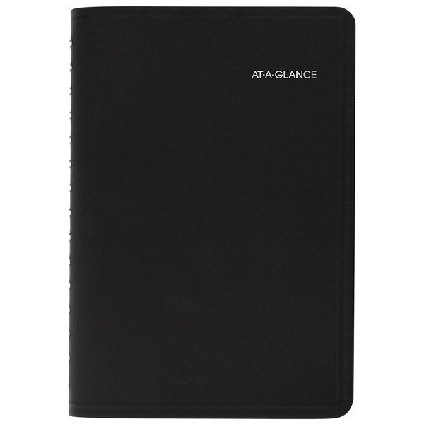 """At-A-Glance 760405 4 7/8"""" x 8"""" Black January 2020 - December 2020 QuickNotes Daily / Monthly Appointment Book"""