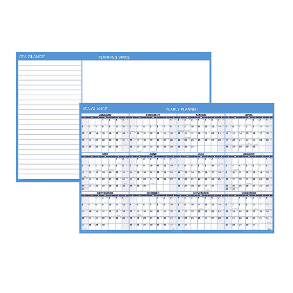 "At-A-Glance PM30028 32"" x 48"" Blue / White Reversible Vertical / Horizontal Erasable January 2020 - December 2020 Wall Planner"