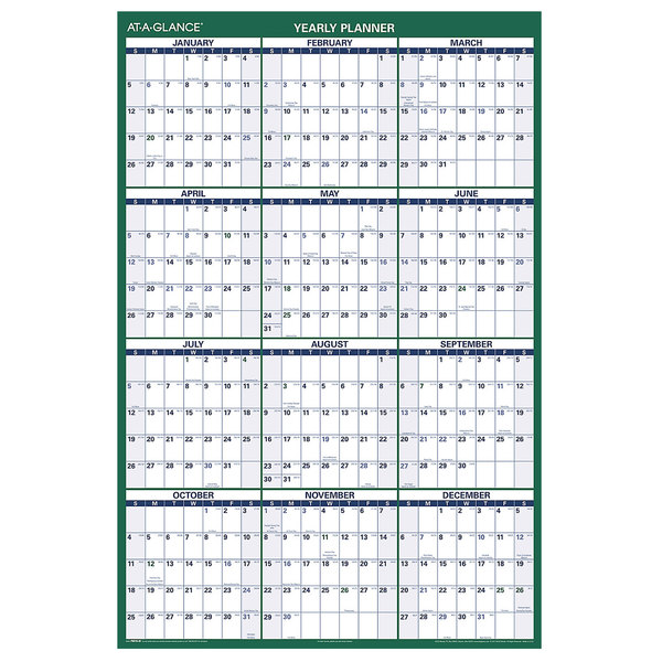 """At-A-Glance PM31028 32"""" x 48"""" Green / White Vertical Erasable January 2021 - December 2021 Wall Planner Main Image 1"""