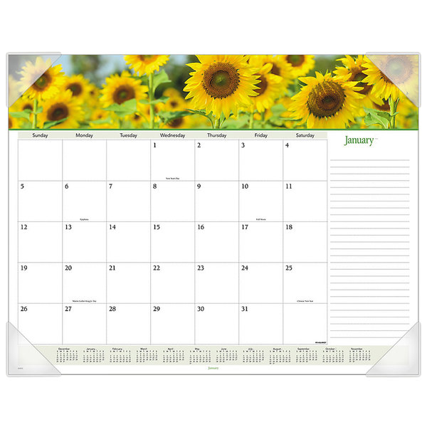 """At-A-Glance 89805 22"""" x 17"""" Floral Panoramic Monthly January 2021 - December 2021 Desk Pad Calendar Main Image 1"""