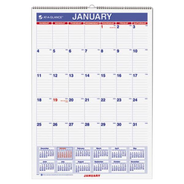 December Calendar 2020.At A Glance Pm228 12 X 17 Monthly January 2020 December 2020 Wirebound Wall Calendar