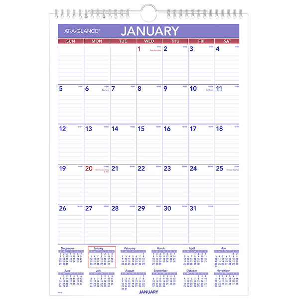 """At-A-Glance PM228 12"""" x 17"""" Monthly January 2021 ..."""
