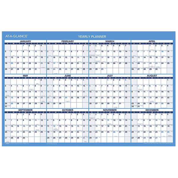 "At-A-Glance PM20028 24"" x 36"" Blue / White Horizontal Erasable January 2020 - December 2020 Wall Calendar"