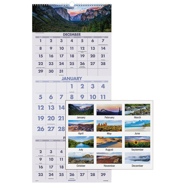 """At-A-Glance DMW50328 12"""" x 27"""" Scenic 3-Month Reference December 2019 - January 2021 Wirebound Wall Calendar"""