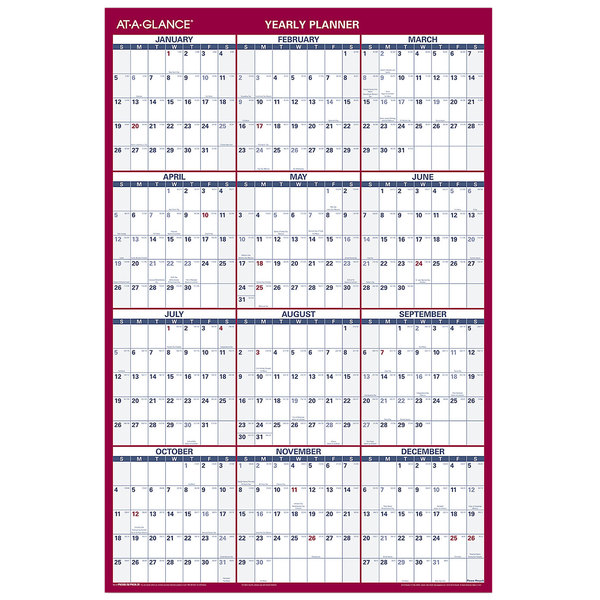 "At-A-Glance PM2628 24"" x 36"" Blue / Red Reversible Vertical / Horizontal Erasable January 2020 - December 2020 Wall Planner"