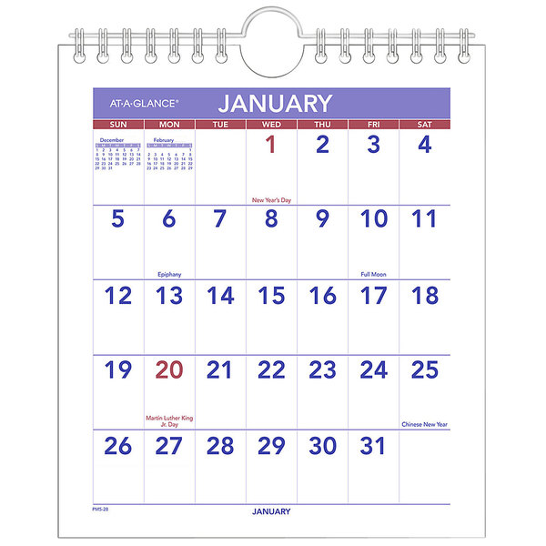 "At-A-Glance PM528 6 1/2"" x 7 1/2"" Mini Monthly January 2020 - December 2020 Wirebound Wall Calendar"