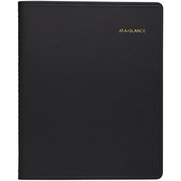 "At-A-Glance 7021405 8 1/2"" x 10 7/8"" Black January 2020 - December 2020 24-Hour Daily Appointment Book"