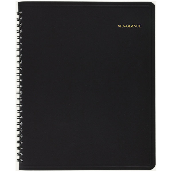 """At-A-Glance 7065005 6 7/8"""" x 8 3/4"""" Black January 2020 - December 2020 Weekly / Monthly Appointment Book"""