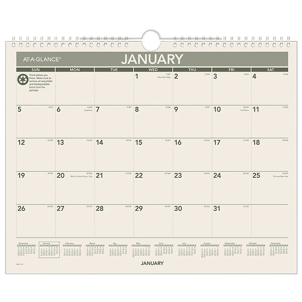 "At-A-Glance PMG7728 12"" x 15"" Green Monthly January 2020 - December 2020 Wirebound Wall Calendar"
