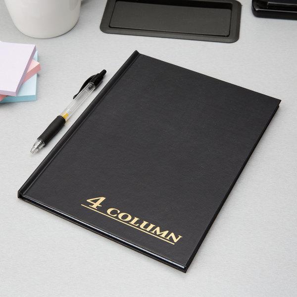 "Adams ARB8004M 7"" x 9 1/4"" Black Four Column 80-Page Account Book Main Image 3"