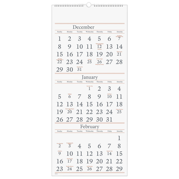 At A Glance Wall Calendar 2022.At A Glance Sw11528 12 X 27 Monthly December 2021 January 2022 Reference Wall Calendar With 3 Months Per Page