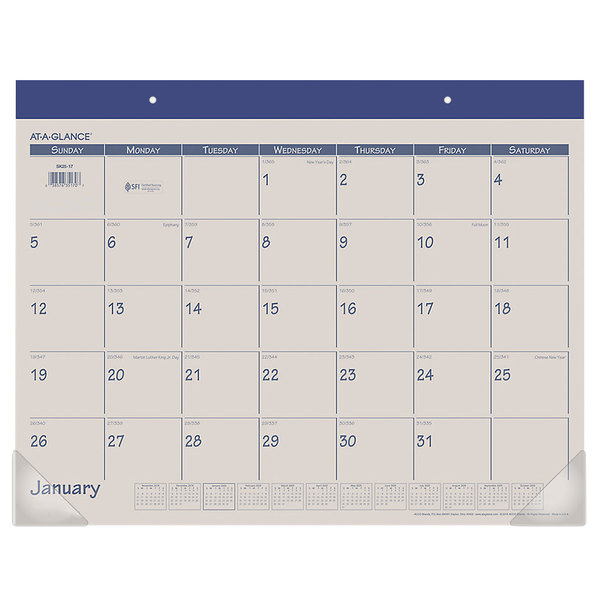 "At-A-Glance SK2517 22"" x 17"" Blue Monthly January 2020 - December 2020 Desk Pad Calendar"