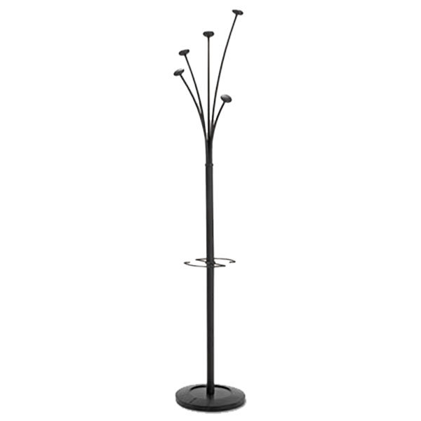 "Albba PMFESTYN 14"" x 73 3/4"" Black Festival Coat Stand with Umbrella Holder"