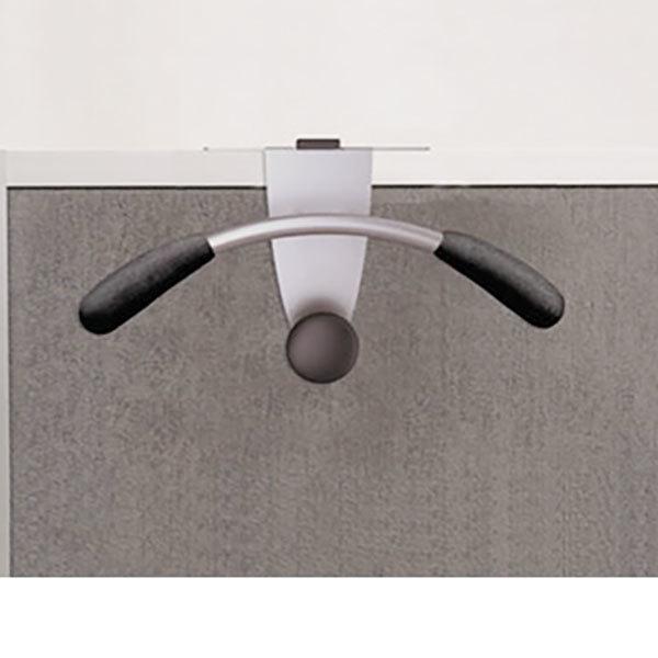 "Alba PMMOUSPART 15"" x 4 1/2"" x 7 7/8"" Silver / Black Hanger-Shaped Partition Coat Hook Main Image 1"