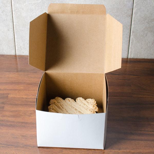 "5 1/2"" x 5 1/2"" x 4"" White Cake / Bakery Box - 250/Bundle"