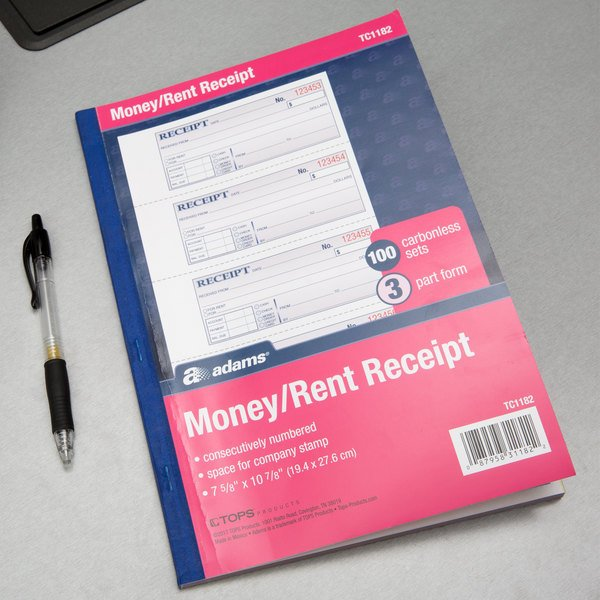 Adams TC1182 3-Part Carbonless Rent Receipt Book with 100 Receipts