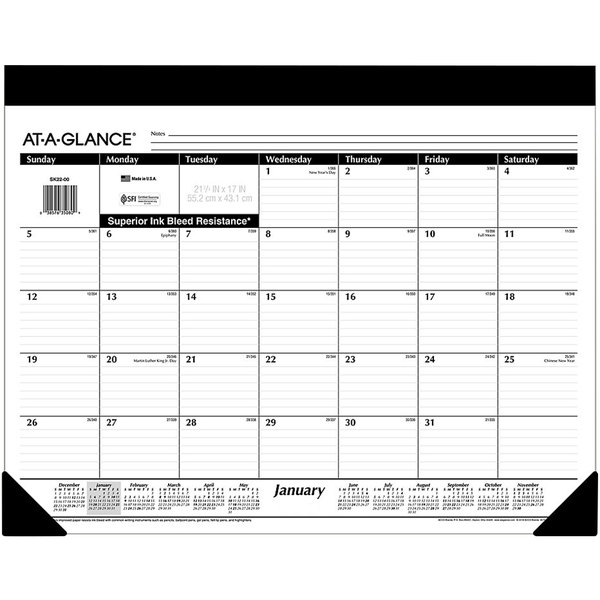"""At-A-Glance SK2200 22"""" x 17"""" Refillable Monthly January 2020 - December 2020 Desk Pad Calendar"""