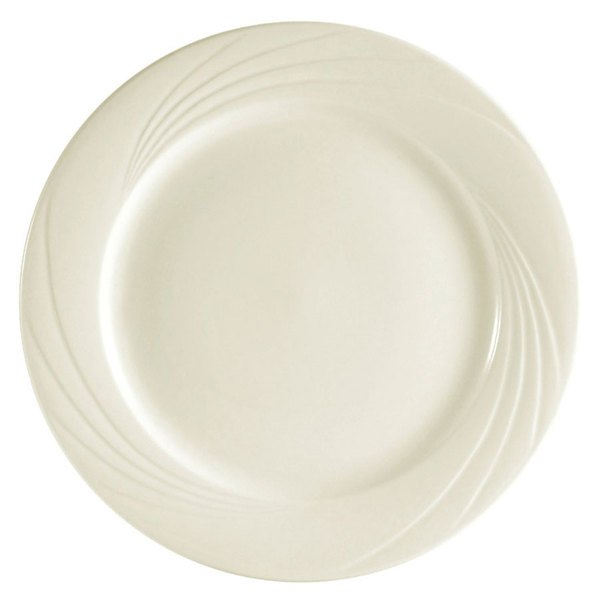 "CAC GAD-8 Garden State 9"" Bone White Round Porcelain Plate - 24/Case"