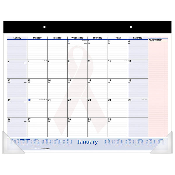 """At-A-Glance SKPN7000 22"""" x 17"""" January 2020 - January 2021 QuickNotes Breast Cancer Awareness Desk Pad"""