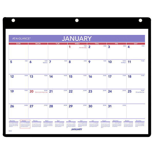 """At-A-Glance SK800 11"""" x 8 1/4"""" Monthly January 2020 - December 2020 Desk / Wall Calendar"""