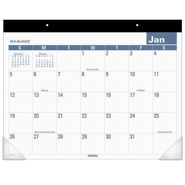 """At-A-Glance SKLP2432 22"""" x 17"""" Easy-To-Read Monthly January 2020 - December 2020 Desk Pad Calendar"""