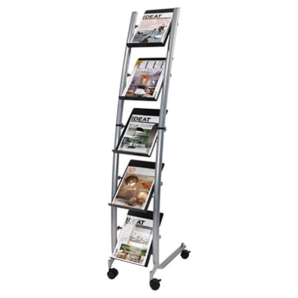 "Alba DD5PM Silver and Black 5-Compartment Mobile Display Rack - 13 3/8"" x 20 1/8"" x 65 3/8"""